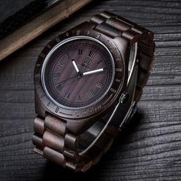 Wholesale Black Gold Sandals - Luxury UWOOD Brand Fashion Perfect Design Black Sandal Men Wooden Wristwatch Wood Watch For Men Gift Free Shipping