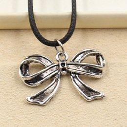 Wholesale Bow Jewlery - 12pcs New Fashion Tibetan Silver Pendant bowknot bow 17*28mm Necklace Choker Charm Black Leather Cord Factory Price Handmade Jewlery