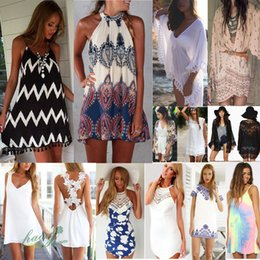 Wholesale Dress Size 18 Sleeves - 2016 Dress For Women BOHO Ladies Sleeveless Party Tops Womens Summer Beach Swing Dress women s dresses UK SIZE 8-18 Dresses women clothes