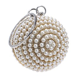 Wholesale Silver Beaded Evening Bags - Wholesale-Women's Pearl Beaded Evening Bags Factory Selling Pearl Beads Clutch Bags Handmake Wedding Bags Beige, Black Quality Assurance