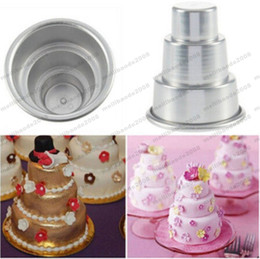 Wholesale Christmas Pudding - 2017 NEW Aluminum Alloy Mini 3-Tier Cake Pan Pudding Mold DIY Mini Birthday Cake Mould Baking Party Food Cake Tools 7CM*8.2CM MYY