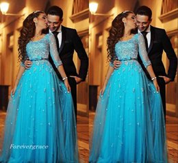 Wholesale Holiday Lace Dress - 2017 Blue Lace Arabic Evening Dress Half Sleeves A-line Tulle Long Formal Holiday Wear Prom Party Gown Custom Made Plus Size