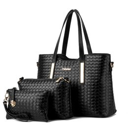 Wholesale Crossbody Handbag Patterns - 3pcs set composite bag Women Lash Package PU Leather Bags Crocodile Pattern Handbag Shoulder Crossbody Bag Clutch Bag Free Shipping