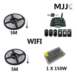 Wholesale Rgb Strip Light Wifi - 2 x 5M 600-SMD LED 5050 RGB Waterproof IP65 Strip Light + 1PC 12V 144W WIFI RGB Controller + 1PC 12V 12.5A 150W CE CB Switch Power Supply
