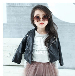 Wholesale leather jackets for kids - DreamShining Spring Kids Jacket PU Leather Girls Jackets Clothes Children Outwear For Baby Girls Boys Clothing Coats Costume