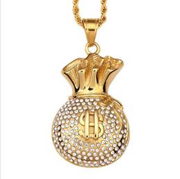 Wholesale Necklace Hip Hop Titanium Steel - Titanium Steel US money bag hip - hop necklace jewelry