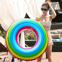Wholesale Pool Rafts - Adult Rainbow Inflatable Swimming Float Tube Ring Raft Pool Float Swim Ring Summer Water Fun Pool Toys 2506019