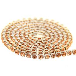 Wholesale wedding dress rhinestone trim - Champagne Glass Rhinestones Silver Base Chains Copper Cup Claw Chain Non Hotfix Sew On Crystal Beads Trims DIY Wedding Dresses