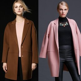 Wholesale Womens Pink Wool Coats - fashion caramel pink red womens winter wool coats 2018 high quality ladies cashmere coats long sleeves outerwear wool coats