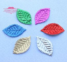 Wholesale New Scrapbook - 200pcs Shiny Metallic Colors Fabric Leaf Appliques 53X30mm Artificial Fall Leaves Garland Party Decor Leaf Scrapbook Accessories