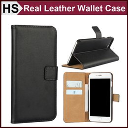 Wholesale Iphone Simple Flip Cases - For iPhone 7 Plus Real Leather Wallet Case Colorful Plain & Card Slot Stand Holder Hard Back Shell Simple Flip Cover DHL Wholesale