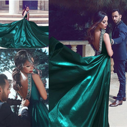 Wholesale Burgundy Evening Gown Cut - Mhamad Said 2017 Newest Aqua Long Satin Evening Dresses Formal Arabic A Line Sequined Deep V Cut Backless Prom Party Gowns Vestidos