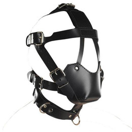 Wholesale Bondage Goggles - Slave Bright Muzzles Leather Hoods Mask Removable Mouth Gag Goggles Fetish Fantasy Sex Product For Adult Head Restraints BDSM Bondage