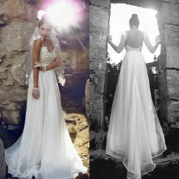 Wholesale New Arrival Beach Wear - 2016 New Arrival Beach Garden Cheap Wedding Dress Bohemian Open Back Bridal Gowns Lace Appliques Top Spaghetti Straps Bride Formal Wear