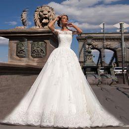 Wholesale Crystal Neck Tie - High Neck Short Sleeves Original Lace Applique Ball Gowns Wedding Dress Hand Tie Button Back Bridal Dress vestidos para noivas