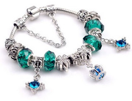 Wholesale Christmas Necklace Set Love - Hot 925 Sterlng Silver Green Crystal & European Silver Charm Beads Fits Charms Bracelets & Necklace Christmas Gifts