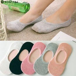 Wholesale Thin Cotton Slippers - 1 pairs 2017 New Womens Socks Solid Color Invisible Socks Women's Short Sock Slippers Summer Thin non-slip Boat Socks Women