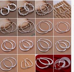 Wholesale 25mm Stud - Fashion 925 Sterling Silver Round Charming Women's Hoop Dangle Earrings Jewelry MJ 25mm Earrings a sy ROXI