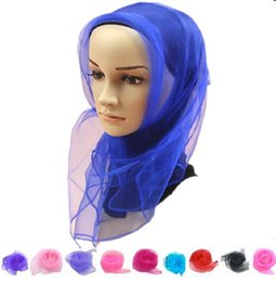 Wholesale Chiffon Silk Scarf Solid Color - 60*60cm 70*70cm Small Square Scarves Pure Silk Chiffon Solid Color Dance Show New Candy-colored Windproof Women Scarves 20 Colors