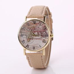 Wholesale World Map Watch Men - Stylish Fashion Designer World Map Watch Fashion Leather Alloy Man Women Casual Analog Quartz Wrist Watches Free shipping