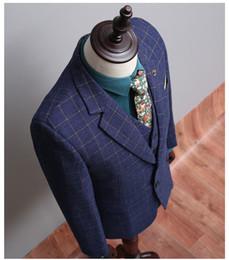 Wholesale Cheap Men S Blazer Jackets - (Coat+Pants+Vest) Royal Blue Plaid Suit Slim Fit Males Formal Party Suit Customized Wool Homem Terno NA04 Cheap Blazer Jackets