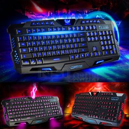 Wholesale Multimedia Led Keyboard - Multimedia 3 Colors Gaming Keyboard LED Illuminated Ergonomic USB Backlight Wired Gaming Keyboard