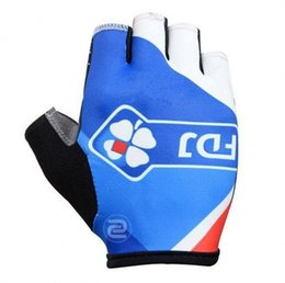 Wholesale cycling gloves tour - Tour de france UCI pro Team FDJ new high quality anti-shock half-finger pro cycling gloves men's MTB road racing anti-slip bike gloves