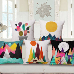 Wholesale Sunrise Case - Hand Drawing Colour Mountain Sunrise Art Cushion Cover Geometric Chevron Stripe Triangles Plaid Cushions Covers Sofa Seat Linen Pillow Case