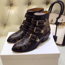 SpringFall Top-Lined Susanna tachonado hebilla de cuero botines para mujeres punta redonda Kitten Heels Shoes mujer zapatos mujer desde fabricantes