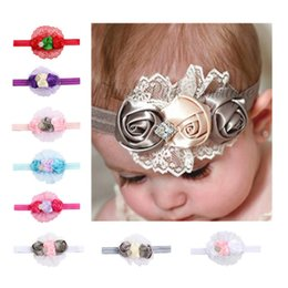 Wholesale Bud Diamond - Soft Hair Band For Baby Exquisite Lace Headwrap With Diamond Three Rose Buds Flowers Headband Hot Sale 3 6ml B