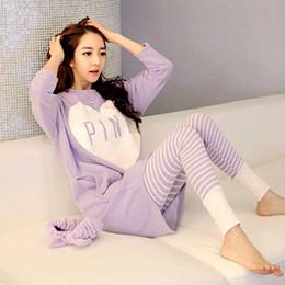 Wholesale Pajamas Sale - Wholesale- Pajamas - Hot Sale Korean Version Of The Heart Pajamas Autumn Long - Sleeved Boudoir Gui Honey Pajamas Home Service #1886380