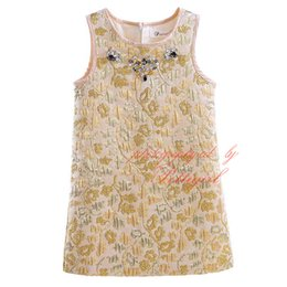 Wholesale Golden Flower Patterns - Pettigirl Summer And Spring Tank Golden Dresses For Girls Crystals Decoration Flowers Pattern Spun Gold Wear Baby Kids Clothes GD90325-726F