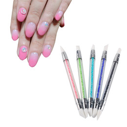 Wholesale pottery tool set - 5Pcs set Nail Art Pen Soft Silicone Carving Craft Supplies Pottery Sculpture UV Gel Building Clay Nail Art Pencil DIY Tools Double 0603052