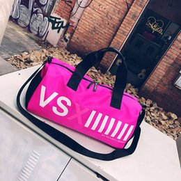 Wholesale Pink Cotton Sport Dress - VSX duffle bag VS Pink Large Capacity Duffle Striped Waterproof Travel Bags Sports Bags Beach Bag Shoulder Bag Women Handbag 51*25*24cm