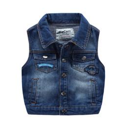 Wholesale Wholesale Kids Fashion Korea - new arrival Kids boys vest wholesale washed Denim waistcoats for boy Applique Fall Winter Pockets Vintage Jackets tops Fashion korea