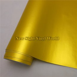 Wholesale Vinyl Wrap Gold Film - High Quality Matte Satin Chrome Gold Metallic Vinyl Wrap Film Sticker Bubble Free For Car Wrapping