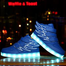 Wholesale White Slips For Children - Summer Children Breathable Sneakers With Light Sport Led USB Luminous Lighted Shoes for Kids Boys Casual Girls Flats