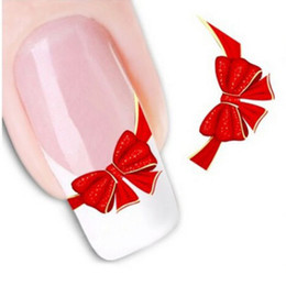 Wholesale Elegant Nail Tips - Wholesale- 1sheets DIY Designs Women Elegant Nail Art Stickers Decals Red Butterfly Tie Decals Patch French Tips Care Styling Tools STZ-034