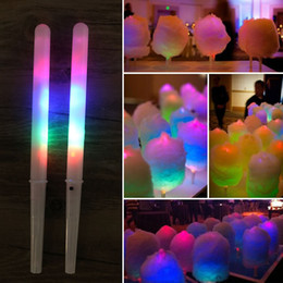 Wholesale colorful stick - Colorful LED Cotton Candy Sticks Glow Light up Floss Stick for Christmas Birthday Party Prop Flashing Sticks
