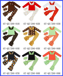 Wholesale Deer Bow Shirt - Cotton Christmas long-sleeved clothes Cartoon Christmas deer printing children suits girl bow head flower + T shirt + bell-bottoms E571