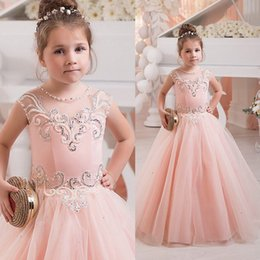 Wholesale Girls Suits For Pageants - 2016 Beaded Flower Girls Dresses For Weddings Pearls Pageant Dress Floor Length Tulle Kids Pageant Suits