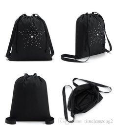 Wholesale Swimming Clothes Woman - Backpack bag Drawstring backpack Bundle pocket Students backpack summer swimming bag clothes finishing bag Black stars orbiting patterns