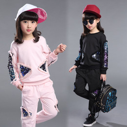 Wholesale pink twinset - Children's clothes girls autumn new sports suit 2018 child sequins embroidery twinset leisure kids suit set for girls costume