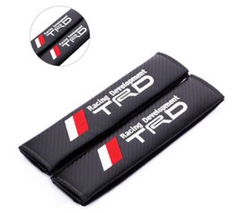 Wholesale Seat Belt Cushion Pads - 2 x car Seat Belt covers Shoulder Pad Cushions Pillow with TRD  W     MINI  DODGE  LUXES Logo Emblem Badge Shoulder supporting Protector Bla