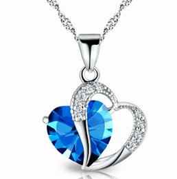 Wholesale Heart Necklaces For Cheap - Romantic Multi Color Crystal Pendant Popular hot Exquisite Love Heart Pendants Cheap Charms Necklaces For Women Jewelry