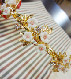 Wholesale Ceramic Flower Jewelry Rose - Baroque Style Retro Hair Jewelry Crystal Hairbands Ceramic Pink Rose Flower Women Wedding Crown Hair Accessories Bridal Tiara