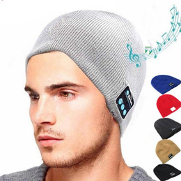 Wholesale hand knitted hats - 6 Colors Bluetooth Music Warm Beanie Knitted Hat Cap With Stereo Headphone Headset Speaker Wireless Mic Hands-free For Men Women PPA576