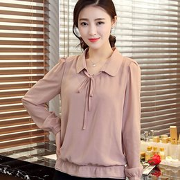 Wholesale Large Purple Doll - 2016 new spring loose Korean doll collar large size women backing blouse female long sleeved chiffon shirt tide