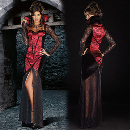 Wholesale Retro Dress Costume - Bite Red Black Retro Sexy Burlesque Vampire Girls Halloween Costume Sexy Fancy Dress Costume Carnival Evil