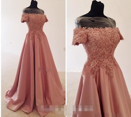 Wholesale Cheap Pink Shirts For Women - 2017 Romantic Pink Prom Dresses A-Line Short Sleeves Long Lace Formal Special Occasion Fitted Evening Party Gowns For Women Plus size Cheap